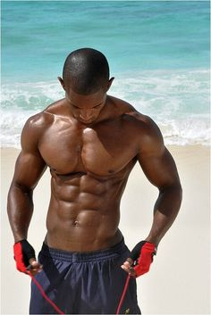 Sexy Black Men Pictures - Beach Workout...