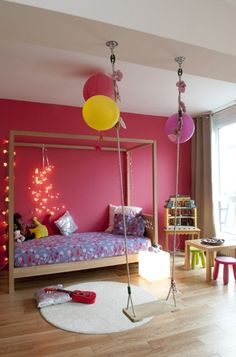 mommo design blog // Swing in Kids room- this is one of the most adorable rooms I've ever seen for a girl