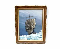Vintage Tall Ship Painting Nautical Sailing Art by OceansideCastle