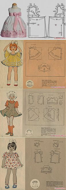 Sewing Baby Girl Clothes English Ideas For 2019 Baby Dress Patterns, Kids Patterns, Doll Clothes Patterns, Sewing Clothes, Doll Patterns, Clothing Patterns, Sewing Coat, Dress Sewing, Blouse Patterns