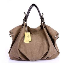 KISS GOLD European Style Canvas Tote/Shoulder Bag(Coffee)