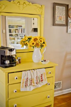 <3 this! Old dresser for the kitchen. I love that she puts her coffee maker on it