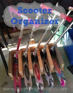 If you've got a problem with kids' scooters all over, THIS is the remedy! Scooter Stand Organizer and FREE printable diagram :: OrganizingMadeFun.com