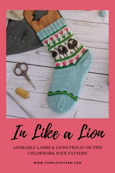 Adorable lions Sock Knitting, Knitting Stitches, Knitting Patterns, Main Colors, Accent Colors, Lion And Lamb, Like A Lion, Yarn Projects, Knitting Accessories