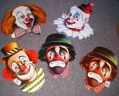 Vintage Circus Clown Faces Cutout Decorations by Greeneyedgirlpc, $8.00