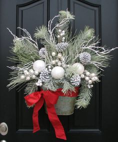 Winter Wonderland, White Christmas, Christmas Wreaths, Holiday Wreath, Silver and White Decor. $145.00, via Etsy.