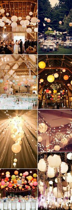 Leuchtende Lampions sind die optimal als ausgefallene Hochzeitsdekoration für Eure Scheunenhochzeit geeignet. #weddingdecoration