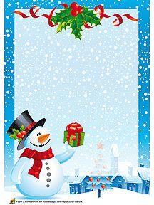 A imprimer, papier à lettre avec une photo d'un village et d'un bonhomme de neige