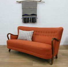 Danish Refurbished Midcentury Vintage 1940s 1950s Retro Sofa in Home, Furniture & DIY, Furniture, Sofas, Armchairs & Suites   eBay