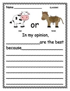 Opinion Writing: Favorite Farm Animals: Many more topics available - 7 pages $