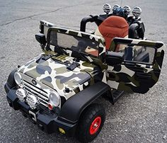 New 2015 Limited Edition Jeep Style 12v Power Wheels Ride on Car with Leather Seat, REAL TIRES, Remote Control - Khaki