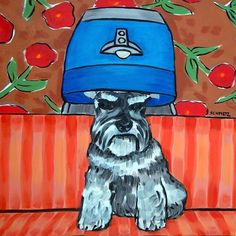schnauzer salon picture animal dog art tile coaster