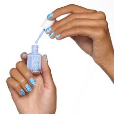 Into the Mist - Blue Swipes Nail Art Design - Essie Nail Polish Looks