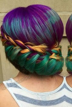 Green gold purple braided dyed hair color