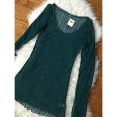 • free people teal lace long sleeve size L • Jade top size L. Retail $48 long sleeve new with tags. No trades. Price is firm unless bundled. Free People Tops Blouses