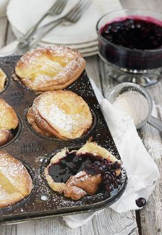 These mini Dutch pancakes are not only deicious, they are easier to make than regular pancakes! Served with a warm blueberry sauce, they are a special and easy breakfast treat. Mini Dutch Pancakes with Warm Blueberry Sauce