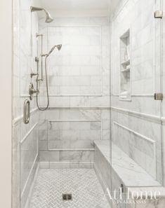 Bathroom Renovation Ideas, Classic White Bathroom, White & Grey Bathroom, Marble Bathroom, Vintage-inspired details shine in this Little Rock cottage's master bath. Bathroom Layout, Bathroom Interior Design, Bathroom Ideas, Bathroom Organization, Bathroom Storage, Bathroom Cleaning, Bath Ideas, Bathroom Inspo, Guys Bathroom