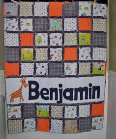 Rag Quilt Crib or Toddler Size PERSONALIZED with by Boutique1324