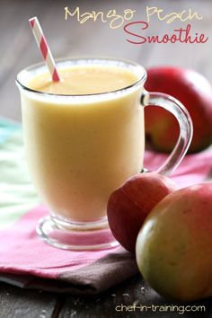 Fruit Smoothie Recipe.  I have Gastroparesis so I changed this wonderful recipe to: 1/2 cup sliced peaches, 1 cup Tropicana Farmstand Peach Mango juice, 1 Fat-free peach yogurt, 1 scoop Protein Whey powder, and 1 cup ice.  Blend and enjoy, makes about 16 oz.