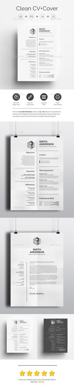 Clean CV+Cover Template PSD, Vector EPS, InDesign INDD, AI Illustrator, MS Word. Download here: http://graphicriver.net/item/clean-cvcover/16885584?ref=ksioks