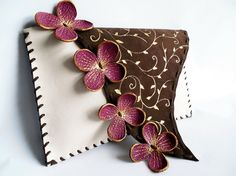 Unusual floral clutch Unique design clutch Purple by spiculdegrau