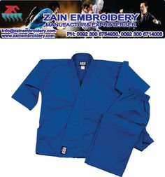 Karate Uniform Blue color mixed cotton and polyester