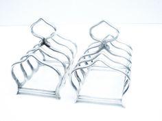 Pair Silver Toast Racks Sterling 5 Bar Letter by DartSilverLtd