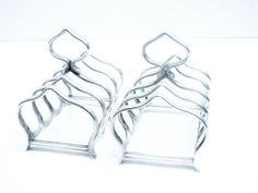 Pair Silver Toast Racks Sterling 5 Bar Letter by DartSilverLtd