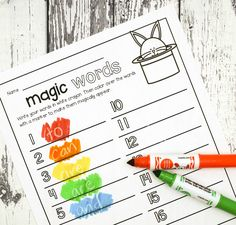 Activity for ages 5 to 7. Kids will love practicing sight words with this simple activity. Grab a white crayon and some markers and get ready for a little magic! The activity is the perfect compliment to our best selling EDITABLE Word Work Activities. Magic Sight Words After printing out the sheet (below), students wrote …