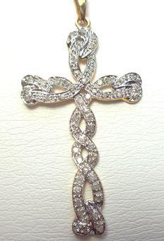 Wit/geel Design gouden kruis met 0,33ct natuurlijk Wesselton PI briljant geslepen diamanten
