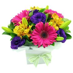 bright floral arrangements | why not include a small gift bright box arrangement sydney deal ...