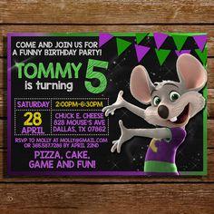Chuck E Cheese Birthday Party Invitation for Chuck E Cheese Party
