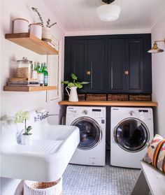 So many great design elements in this laundry room remodel, But, that sink is a especially great!