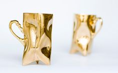 Gold porcelain cups set ceramic mugs for coffee or by ENDEsign