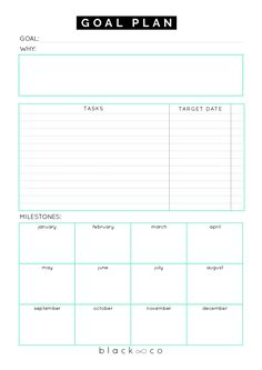 Goal Plan Sheet. A planner to help you make your goal plan. As simple as possible. Make your plan, work on it consistently and you will be unstoppable.