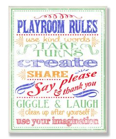'Playroom Rules' Typography Wall Art | Daily deals for moms, babies and kids
