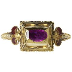 Enamelled gold ring, oblong box bezel set with a table-cut pink sapphire, with shaped shoulders, Western Europe, Museum Number Renaissance Jewelry, Ancient Jewelry, Old Jewelry, Antique Jewelry, Jewelry Rings, Jewelery, Vintage Jewelry, Fine Jewelry, Royal Jewels