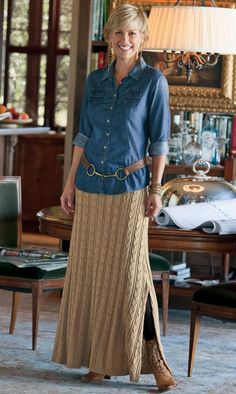 Love the blue with the khaki with the belt! try a khaki skirt top or pants top sweater bottom