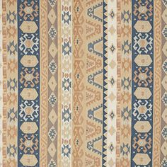 Sand Beige Tan and Coral Blue Vintage Look Aztec Cabin Southern Chenille Upholstery Fabric by the yard >>> Read more info by clicking the link on the image. #FabricCrafts
