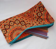 Pockets of Beauty - Beautiful bright shweshwe pencil bag Pencil Bags, African Print Fashion, Bright, Pockets, Sewing, Crafts, Beauty, Beautiful, Dressmaking