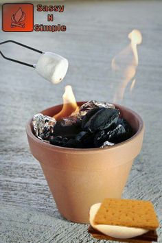 Put charcoal in a foil lined terracotta pot for table top s'mores! Perfect summer party idea!