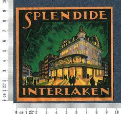 Kofferaufkleber Splendide Interlaken Schweiz VERY RARE Nocturn luggage label