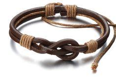 Friendship Nautical Knot Leather Bracelet/Brown door beyondcoolmetal