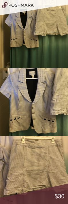 Skirt suit Skirt suit with top blazer. Striped. 2 pockets on top part of suit and 3 button closure. Skirt just needs to be ironed on the bottom. Very cute and classy. White, blue, and tan stripes. White House Black Market Other