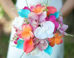 Wedding Coral Orange, Pink and Turquoise Teal Natural Touch Orchids, Callas and Plumerias Silk Flower Bride Bouquet