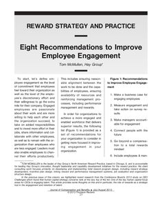 Eight Recommendations to Improve Employee Engagement by Hay Group