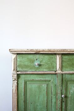 SALE Antique Farm Cabinet / European Painted Cabinet from 86 Vintage. Painting Antique Furniture, Old Furniture, Vintage Furniture, Painted Furniture, Green Furniture, Primitive Cabinets, Muebles Living, Shop Cabinets, European Home Decor