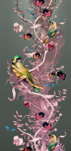 Awesome work by Kit Miles. Flower Wallpaper, Pattern Wallpaper, Wallpaper Backgrounds, Iphone Wallpaper, Wildlife Art, Color Of Life, Fractal Art, Graphic Design Illustration, Belle Photo