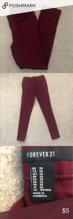 Forever 21 jeans in size 26 Forever 21 size 26 jeans in burgundy color way. New, never worn. Forever 21 Jeans Skinny
