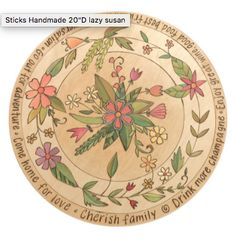 """20"""" Lazy Susan- Lovely pastel lazy susan with floral motifs and inspirational phrases in the round"""